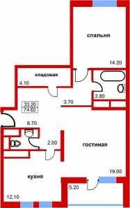 Планировка 2-комнатной квартиры в Южный